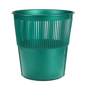 Корзина для бумаг пластик сетчатая 12л Uni зеленая Ош