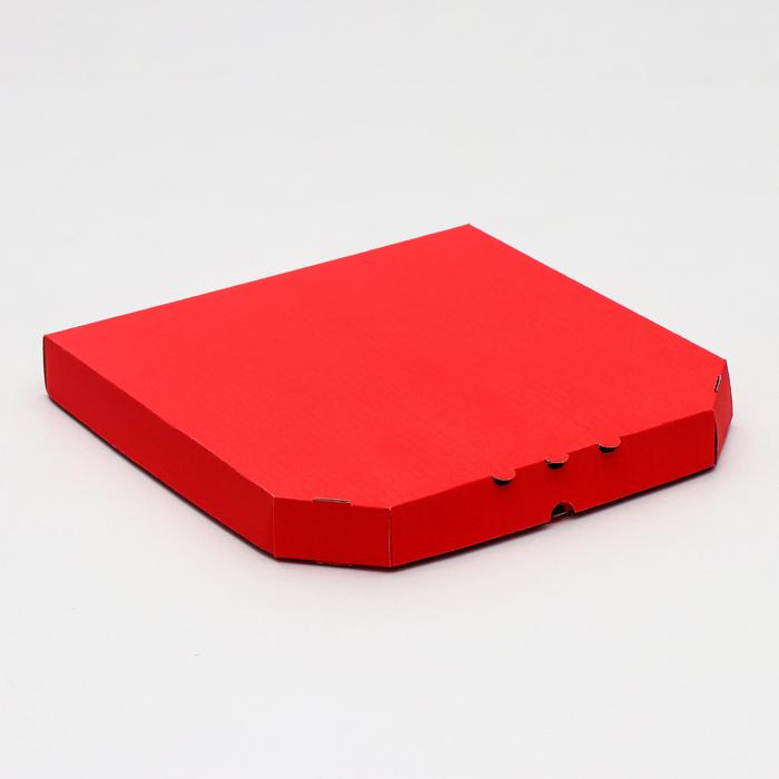 Коробка для пиццы, красная, 32,5 х 32,5 х 4 см