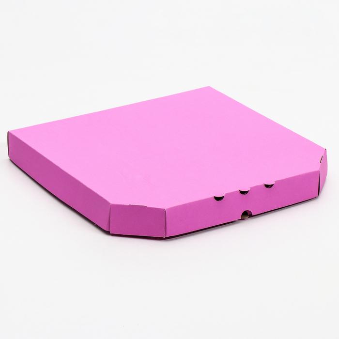 Коробка для пиццы, сиреневая, 32,5 х 32,5 х 4 см