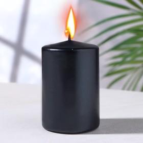 Свеча - цилиндр парафиновая, черный металлик, 4×6 см