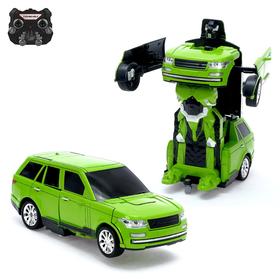 Робот-трансформер радиоуправляемый «Джип», с аккумулятором, заряд от USB, цвет зелёный