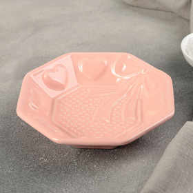 "Салатник ""Бантик"" 15х15х3,5 см, цвет розово-оранжевый"