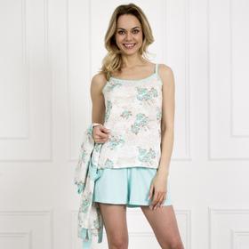 Пижама женская (майка, шорты) «Нежность», цвет белый/голубой, размер 46