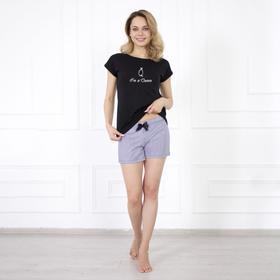 Костюм женский (футболка, шорты) «Валерия», цвет чёрный/клетка, размер 42