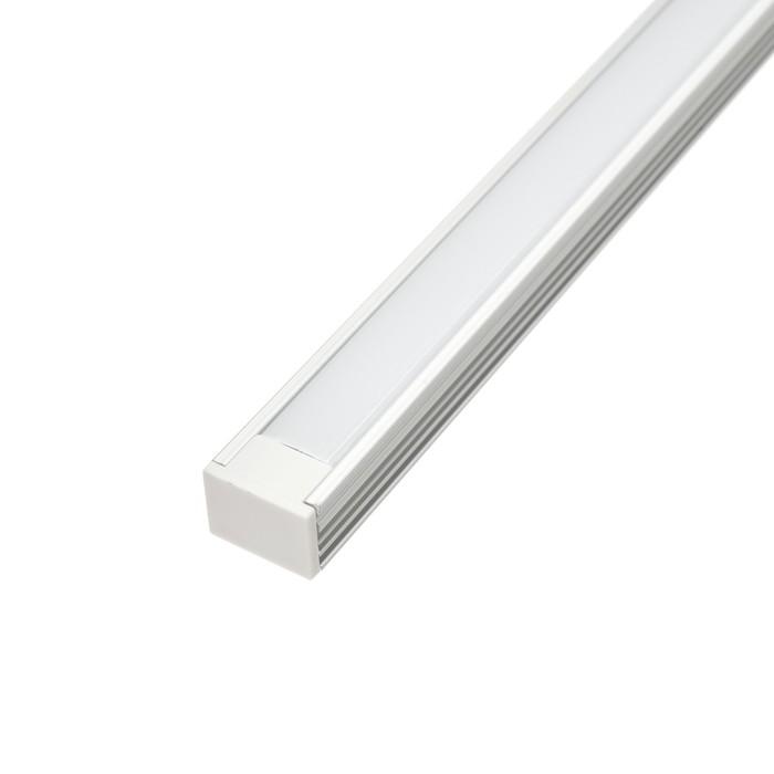 Алюминиевый профиль TDM 1612, накладной, 2 м, матовый рассеиватель, 2 загл., 4 креп