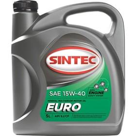 """Масло моторное Sintoil/Sintec 15W-40, """"Euro"""", SJ/CF, минеральное, 5 л"""