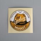 Наклейка на бутылку Old Cowboy Original Whiskey, оранжевая