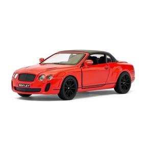 Машина металлическая Bentley Continental Supersports Convertible, 1:38, открываются двери, инерция, цвет красный