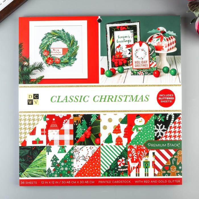 Набор бумаги для скрапбукинга DCWV - Коллекция «Classic Christmas» - 30.5х30.5 см