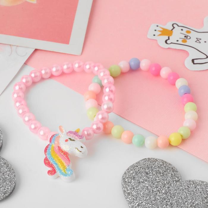 Набор детских браслетов Выбражулька 2шт, единорог, цветные
