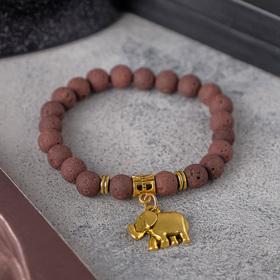 Браслет унисекс 'Лава' слон, цвет коричневый, шар №8, d=7 см Ош