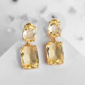 """Серьги со стразами """"Весна"""" овал квадрат, цвет жёлтого бриллианта в золоте"""