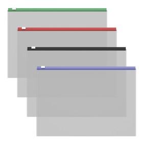 Папка-конверт на гибкой молнии А4, ErichKrause Zip Fizzy Clear, c цветной молнией, микс