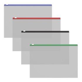 Папка-конверт на гибкой молнии ErichKrause Zip Fizzy Clear, c цветной молнией, микс