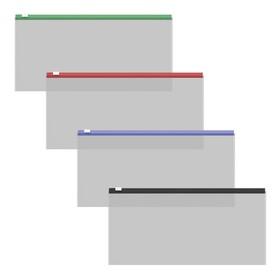 Папка-конверт на гибкой молнии ErichKrause Zip Fizzy Clear Travel, с цветной молнией, микс