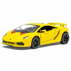 Машина металлическая Lamborghini Sesto Elemento, 1:38, открываются двери, инерция, цвет жёлтый