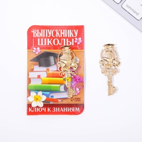 Ключ на открытке {amp}quot;Выпускнику школы{amp}quot;,  5,1 х 8,2 см