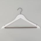 Вешалка-плечики для одежды с перекладиной ПВХ Доляна «Тон», размер 44-46, цвет бело-серый