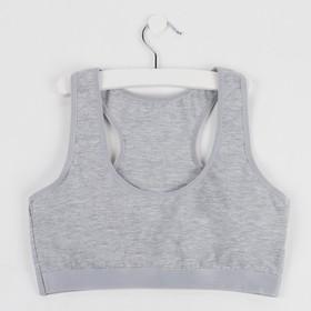 Топ для девочки, цвет серый, рост 140-146 см