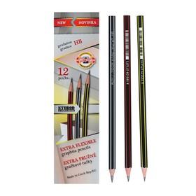Карандаш чернографитный 2.0 мм, Koh-I-Noor 1697 HB, сверхгибкий, пластиковый, микс, L=175 мм