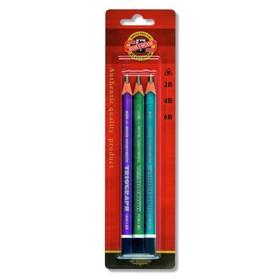 Набор карандашей чернографитных разной твердости 3 штуки Koh-i-Noor 1835, 2B-6B, Triograph в блистере