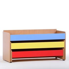 Кровать детская 3-ярусная выкатная, 1480х652х720, Цветная Ош