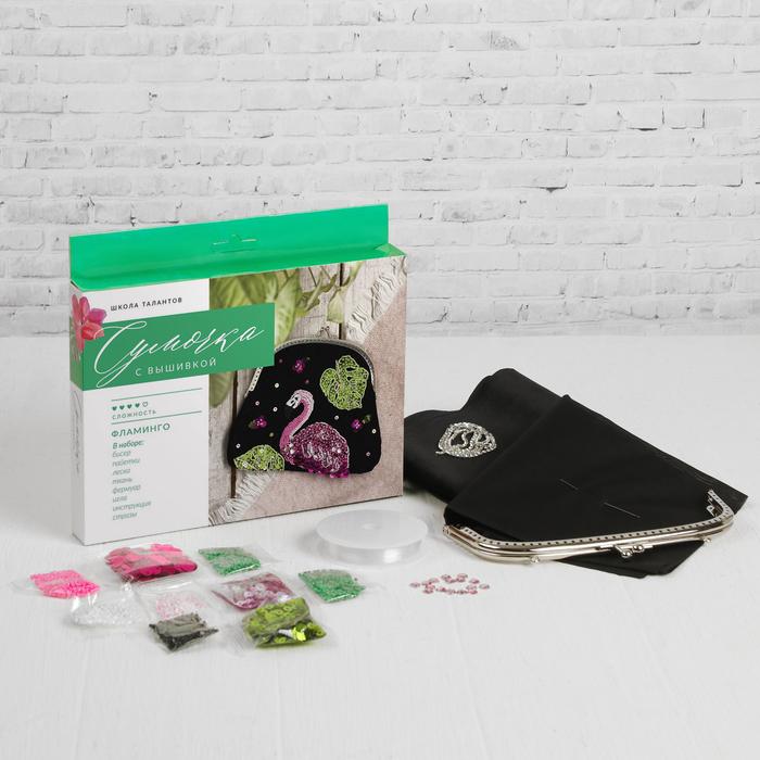 Вышивка бисером на сумке «Фламинго». Набор для творчества
