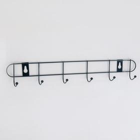 Вешалка настенная на 6 крючков Доляна «Лайт», 34×5,5×3 см, цвет чёрный Ош
