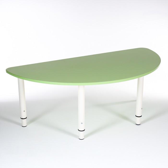 Стол Полукруг растущий гр.0-3 на металлокаркасе, Зеленый степной