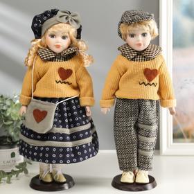 Кукла коллекционная парочка набор 2 шт 'Полина и Митя в свитерах с сердечками' 40 см Ош