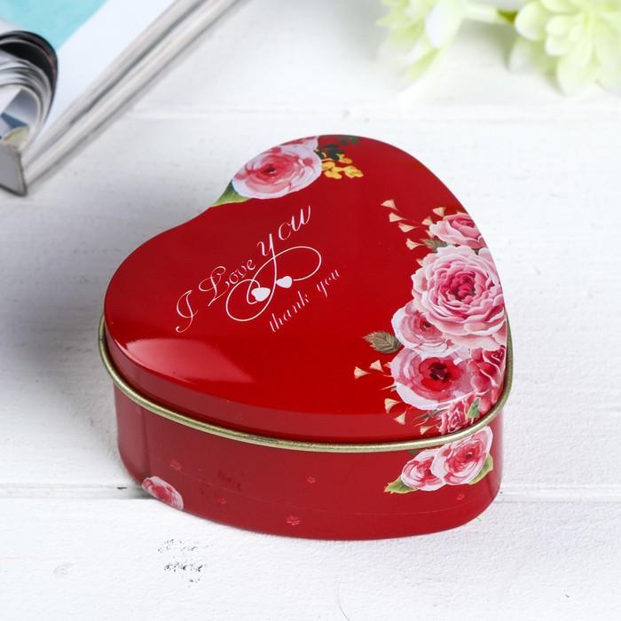 Шкатулка металл сердце Розы на красном 4х7х7 см