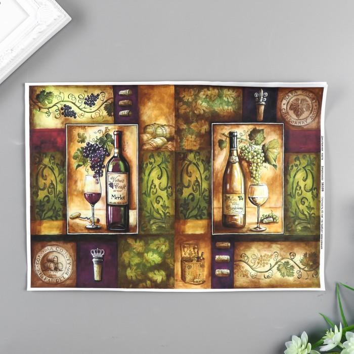 """Декупажная карта """"Бутылки вина"""" формат А4, плотность 45г/м21"""