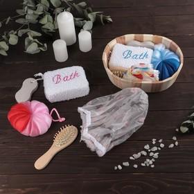 Набор банный, 5 предметов: 2 мочалки, пемза, расчёска, шапочка для душа, цвет МИКС Ош