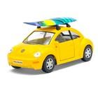 Машина металлическая VW New Beetle, 1:32, открываются двери, инерция, цвет жёлтый