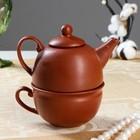 Чайник с чашкой, коричневый, 1 персона, чайник 0.3л, чашка 0.15л, 1 сорт