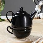 Чайник с чашкой, черный глянец, 1 персона, чайник 0,3л , чашка 0,15л  (1 сорт)