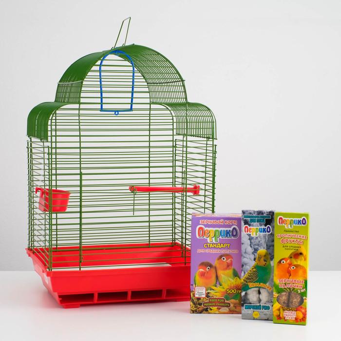 Акция для средних птиц Клетка, корм, палочки, жердочка