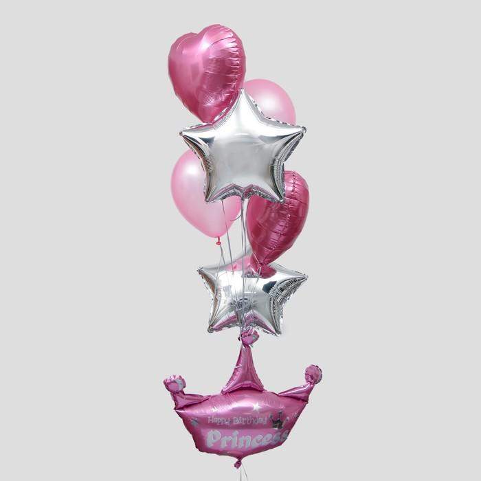 Букет из шаров «С днём рождения, принцесса», корона, цвет розовый, набор 8 шт.