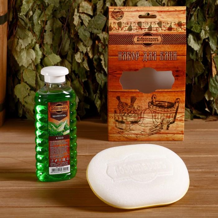 Подарочный набор Добропаровъ шампунь Алоэ и мочалка для тела