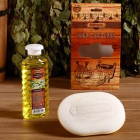 Подарочный набор 'Добропаровъ': шампунь 'Ромашка' и мочалка для тела Ош