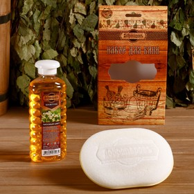 Подарочный набор 'Добропаровъ': шампунь 'Липовый цвет' и мочалка для тела Ош