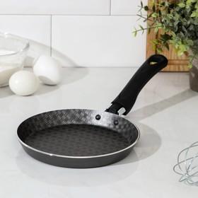 Сковорода блинная «Русская кухня, лён», d=18 см, антипригарное покрытие, цвет чёрный