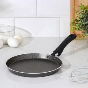 Сковорода блинная «Русская кухня, лён», d=22 см, антипригарное покрытие, цвет чёрный
