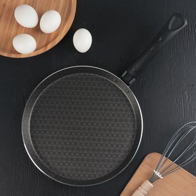 Сковорода блинная «Русская кухня, лён», d=25 см, антипригарное покрытие, цвет чёрный