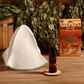 Подарочный набор 'Добропаровъ': шапка 'Панама' и ароматизатор для бани Ош
