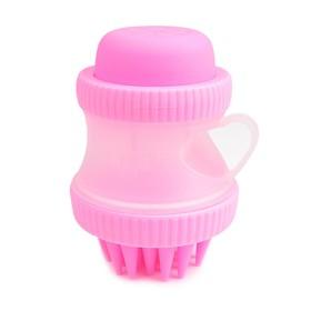 Щетка для мытья и массажа собак, с емкостью для вспенивания шампуня, розовая Ош