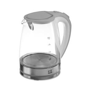 Чайник электрический Irit IR-1236, стекло, 1.8 л, 1500 Вт, подсветка, серебристый