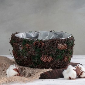 Кашпо плетёное круглое «Лесная сказка», 20×20×10 см Ош