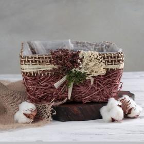 Кашпо плетеное 'Букет' квадрат, 20х20х10 см, цвет коричневый Ош
