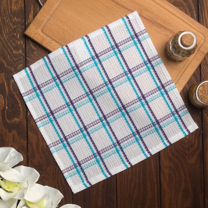 Полотенце вафельное Пальмира 070 30х30 см, синий, хлопок 100%, 200г/м2